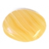 Glass Pressed Beads 16x12mm Flat Oval Butter Yellow